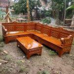 Kursi Tamu Sofa Sudut Kayu Jati Ukir Sederhana