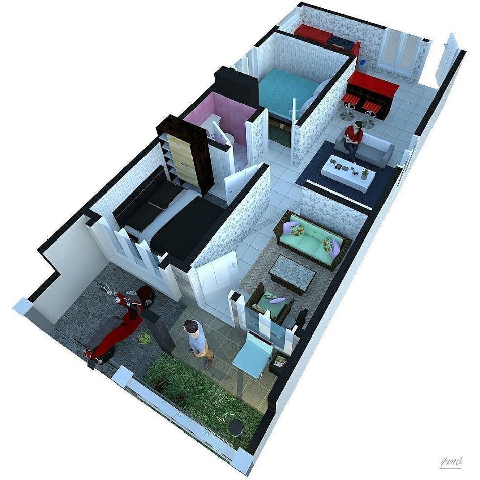 Denah Rumah Minimalis 1 Lantai Memanjang