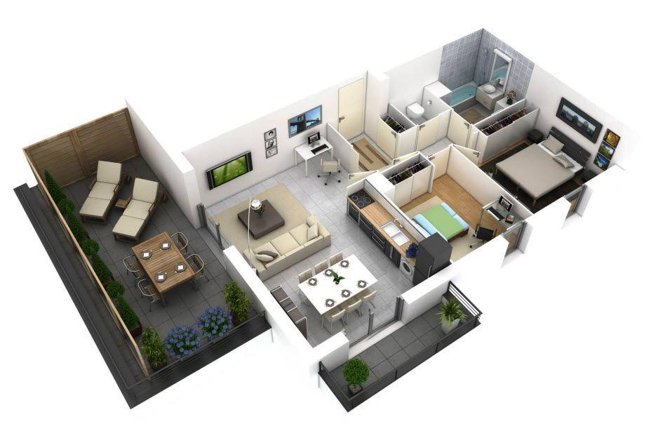 Denah Rumah Minimalis 1 Lantai Ukuran 6 x 12