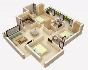 2. denah rumah minimalis 3 kamar tidur type 36