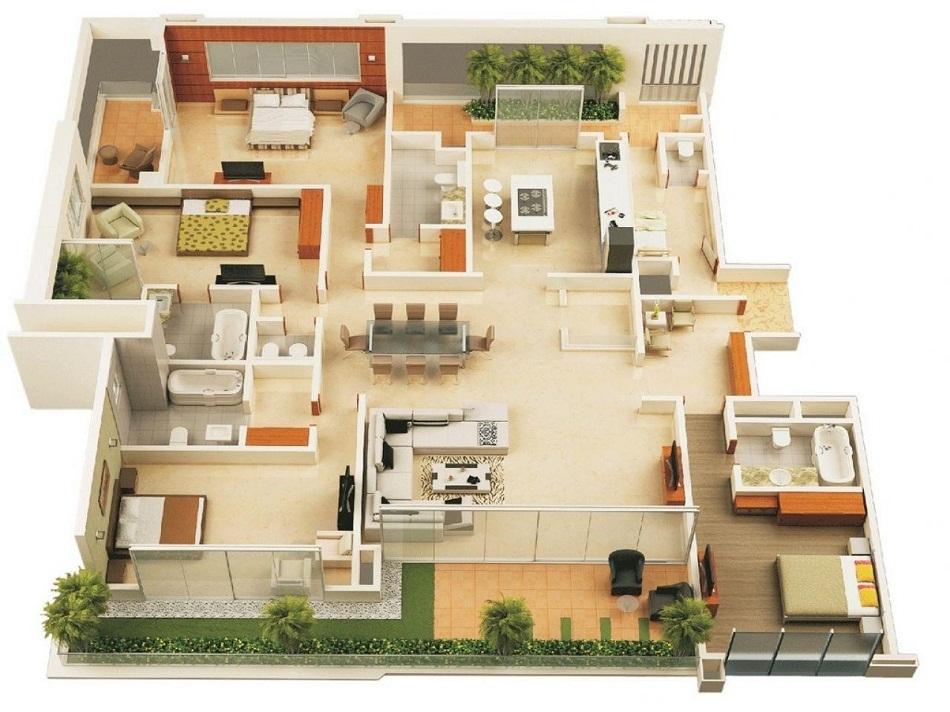 Denah Rumah Type 70 dengan Mini Garden