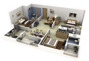 42. desain rumah 3 kamar tidur sederhana